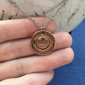 Tampa Coin Rings Jewelry - 1982 Two-Piece Handmade Lucky Penny Necklace OOAK